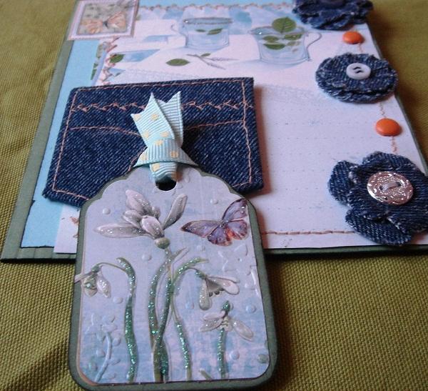 Три богатыря, скрапбукинг открытка джинс