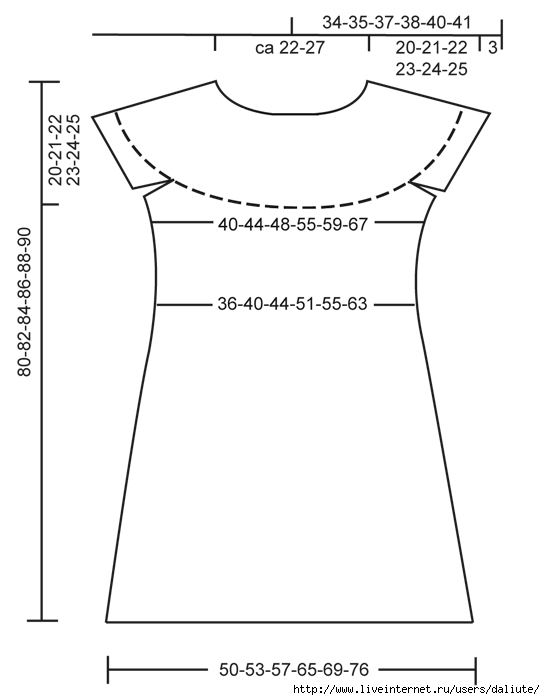 вязание туника со схемой и описанием, вязание спицами круглых кокеток.