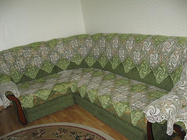 Покрывало на угловой диван. Моё вязание. Запись пользователя.