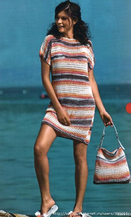 Модные платья вязаные спицами.