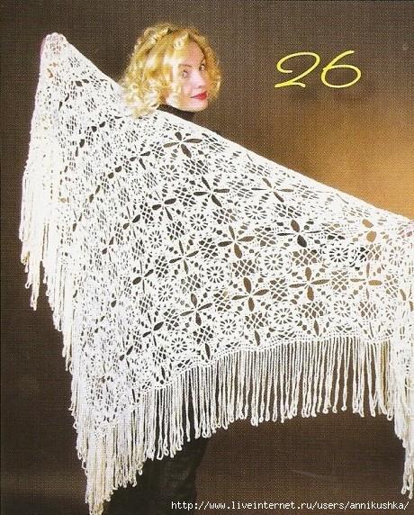 Описание вязания шали: вязать модель из отдельных мотивов по схеме...