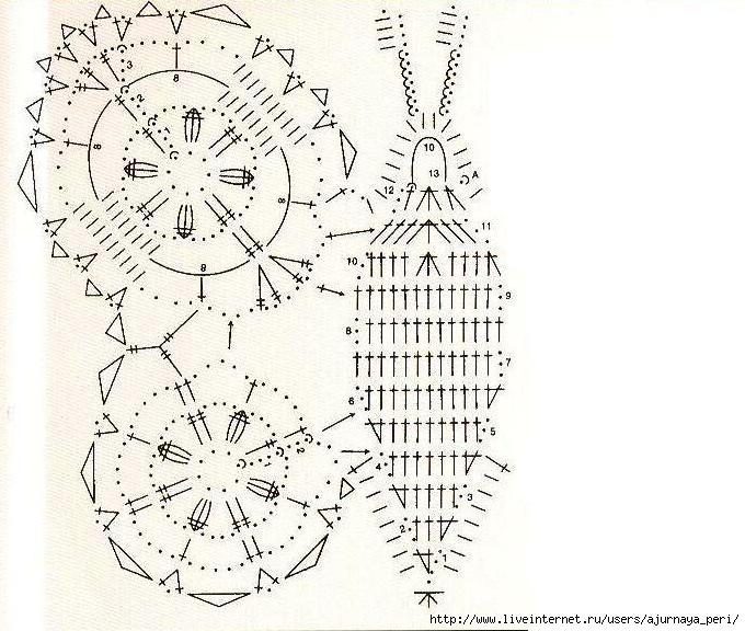 вязание крючком декоративных бабочек со схемами - Выкройки одежды для...