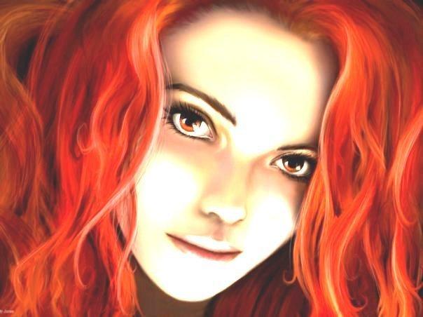 Девушка с огненно-рыжими волосами, и к своему счастью с глазами...