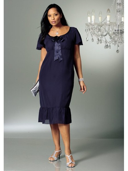 вечернее платье средней длины.