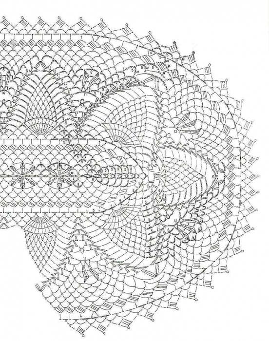 схема салфетки овальной крючком Мария-Тереза.