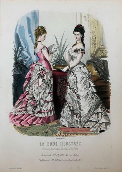 Вечерние или бальные платья, 1875 год.
