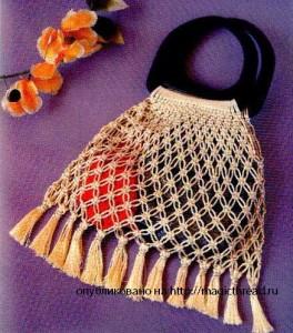 схема плетения сумочки из макраме.