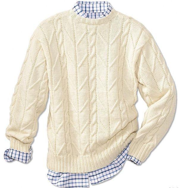 Рхема и описание вязания белого мужского пуловера связанного на спицах.