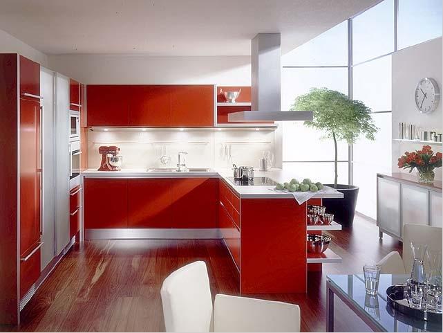 красивый интерьер кухни в красном.