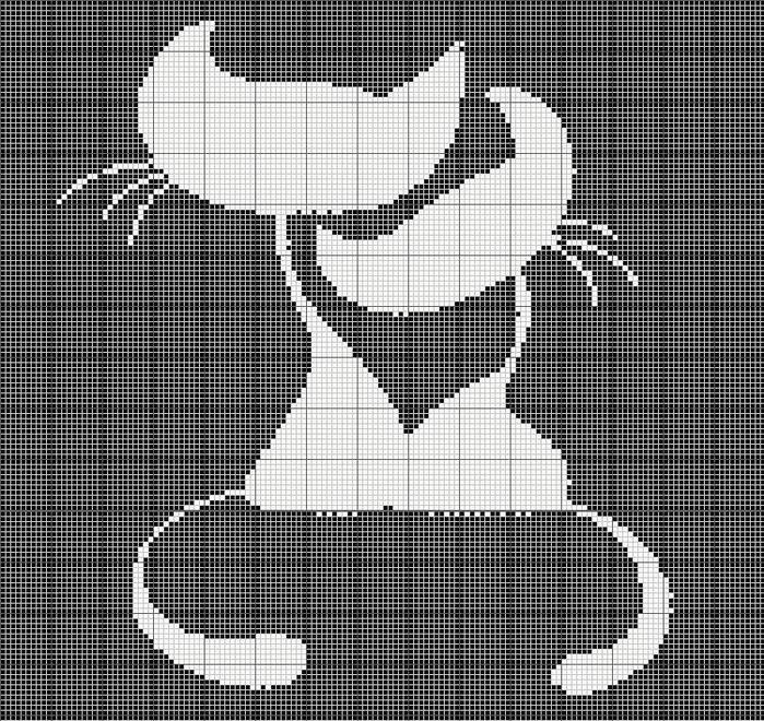 Занавеска крючком 'кошка'. Схема вязания   филейное вязание   постила.
