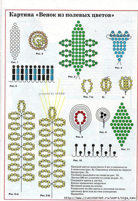 Методы плетения цветов из бисера схемы.