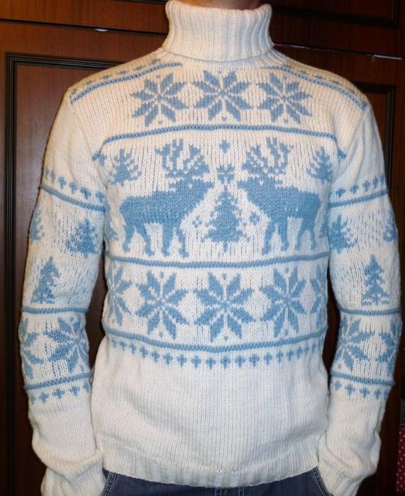 Вязание мужского свитера с оленями 448