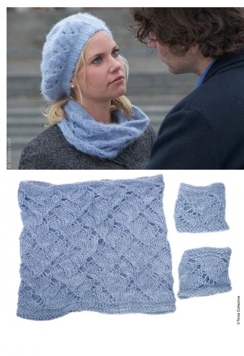 Шарфик связан спицами 6 из ангоры.  Схема вязания шарфа спицами .