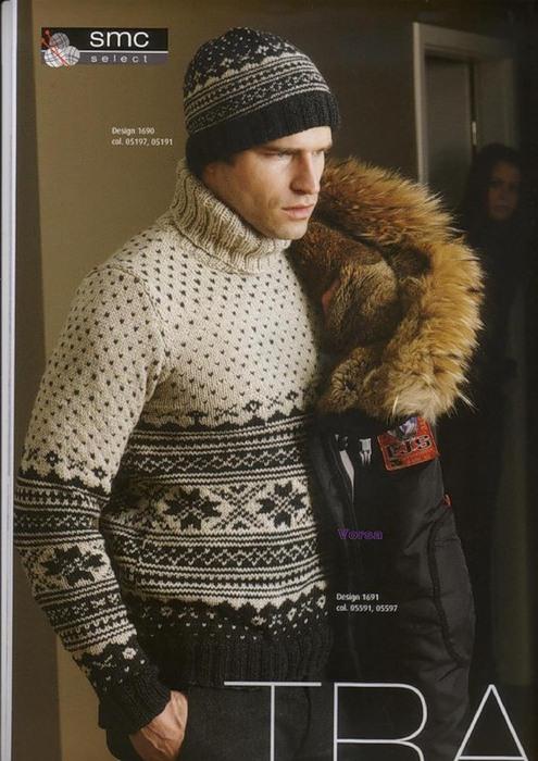 вязание спицами норвежский узор свитер и шапка для мужчин