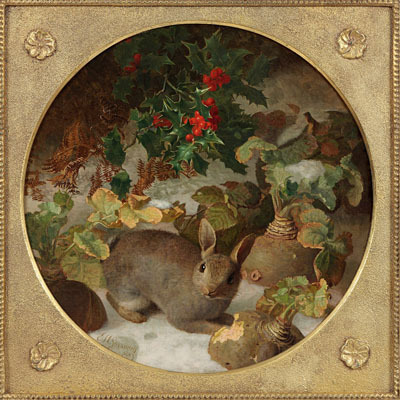 Winter – Rabbit and Holly in the Snow (400x400, 67Kb)
