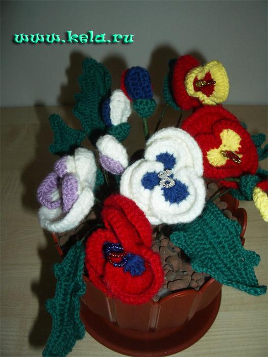 виолы мастер класс вязаные цветы в горшке Knittedlife