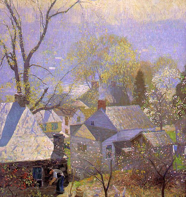 Daniel Garber (American, 1880-1958)Springtime in the Village, 1917 (618x654, 124Kb)