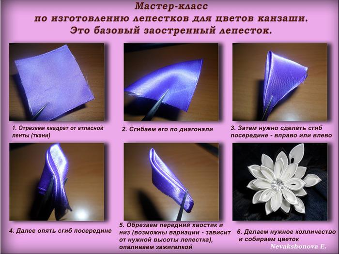 Цветы из лент своими руками пошаговая инструкция