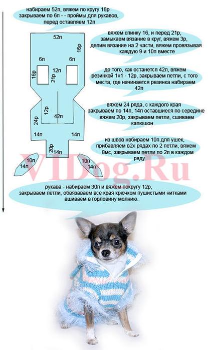 Вяжем комбинезон для собаки ... связанного по этой схеме.