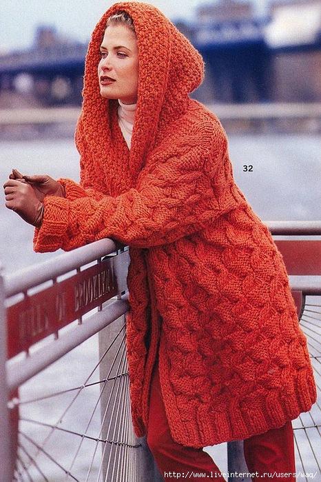 Описание: Красное пальто с капюшоном Вязание и.