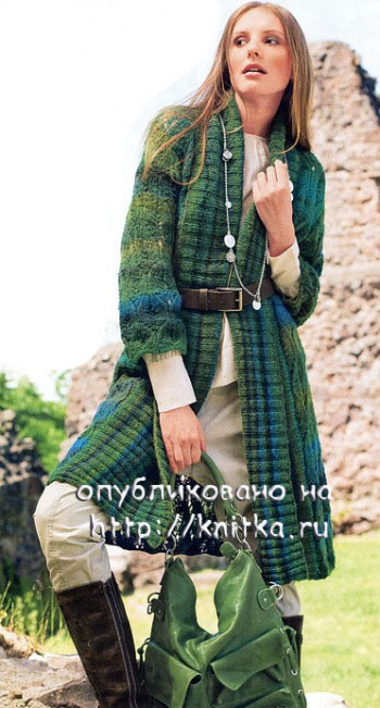Описание: gt; Вязаное пальто спицами с описанием.