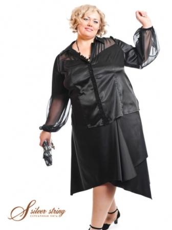 Костюм для полной женщины Черный костюм юбка-кофта для полной женщины.