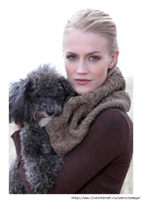 шарф снуд схема вязания. схема вязание спицами шарф-снуд косами.