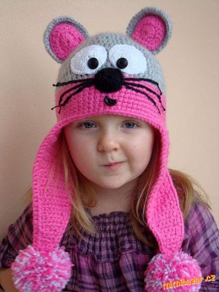 Нашла прикольную шапочку со схемой только на ушки и глазки мышки.