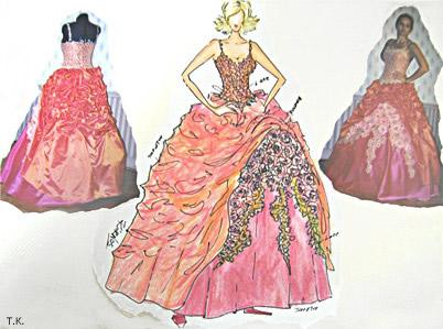 Вечернее платье: эскиз и фото готовой модели.