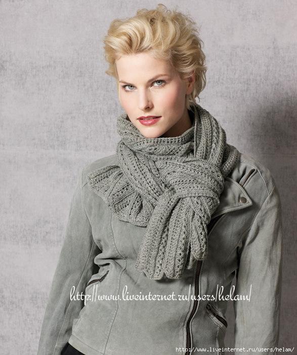 Описание: вязание шарфа спицами - Схемы вязания.