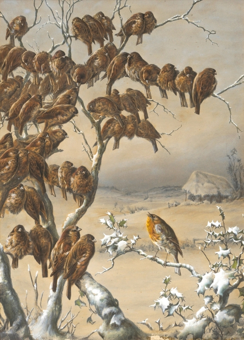 A flock of sparrows roosting in a winter landscape (502x700, 307Kb)