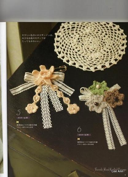 вязание цветов для украшения платья.