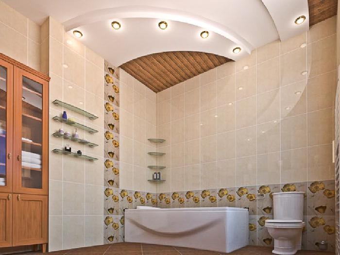 Потолки в ванную комнату своими руками фото