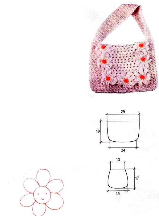 сумка из ромашек крючком схема.