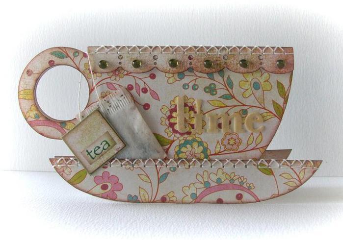 Скрапбукинг открытка чайников