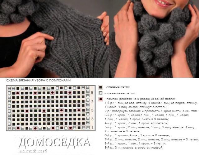 схема вязания. модный шарф.