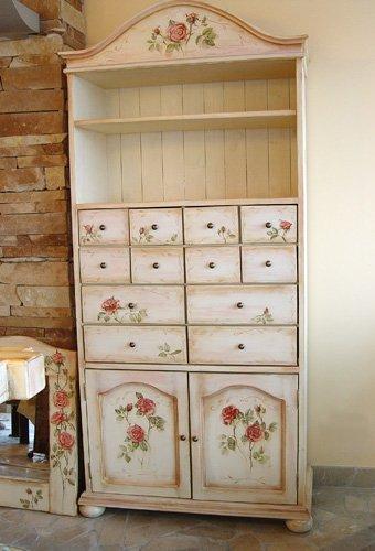 ...можно сделать со старой мебелью с помощью декупажа, краски, кракелюра.
