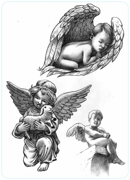 Рисунки ангела с крыльями раскраска и купидоны 141