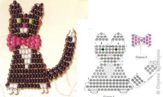 схема бисерный шарики из бисера браслет черно белый.