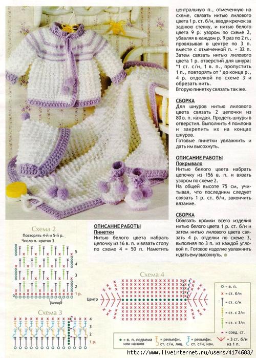 Вязание для новорожденных девочек со схемами