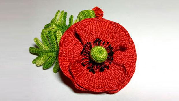 Вязаный крючком цветок: мак | крестик.