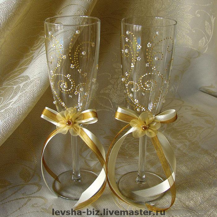 Свадебные бокалы - колье,браслет,подвязка,заколки