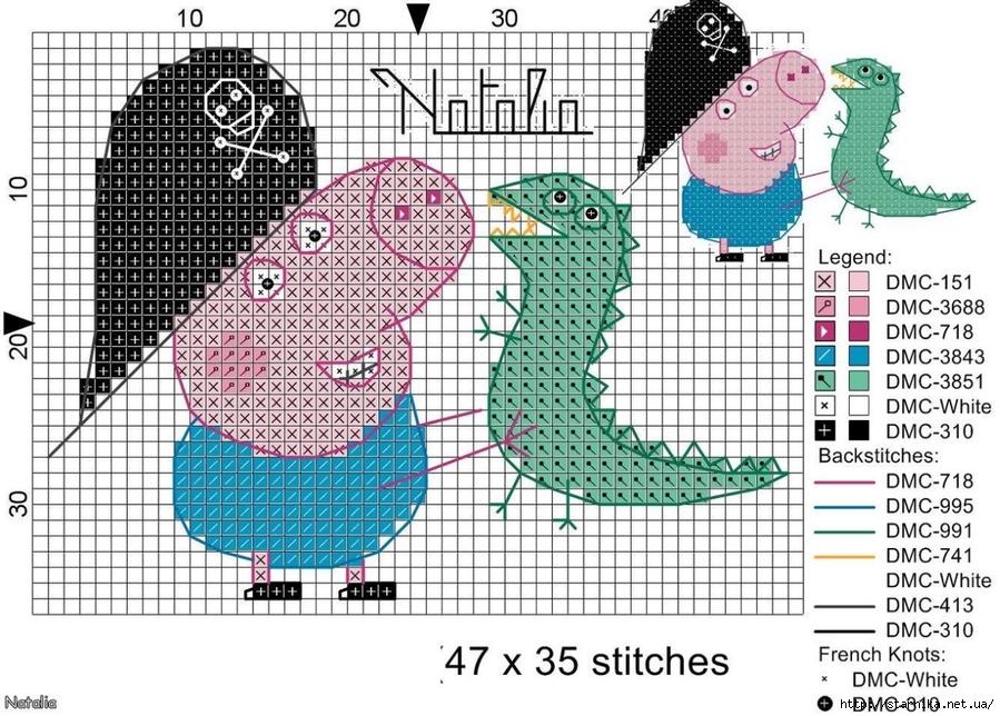 Схема свинки пеппы вышивка 156