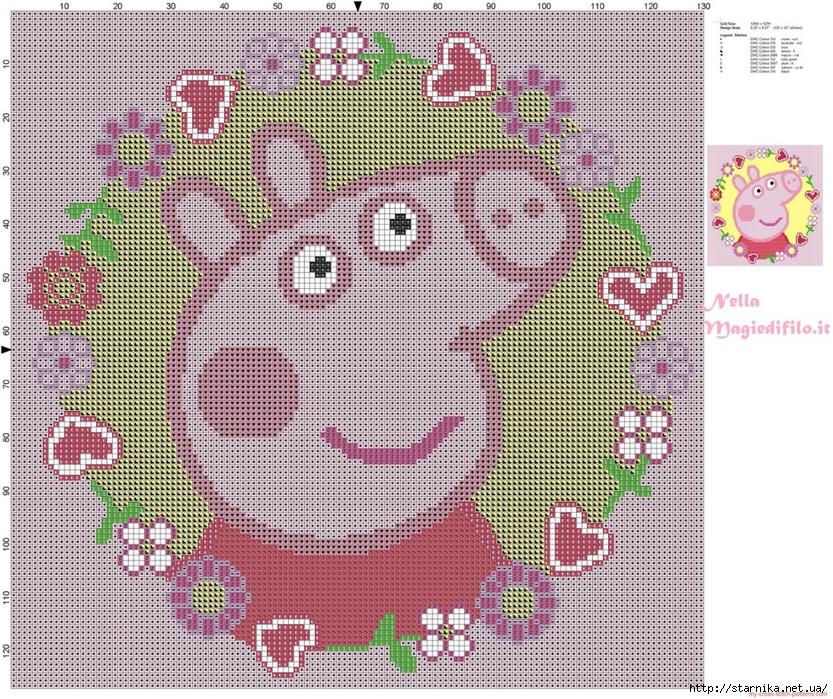 Схема свинки пеппы вышивка 3