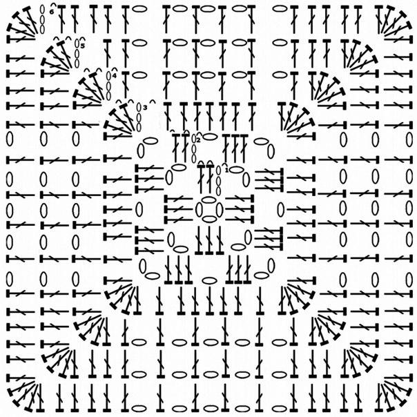 бабушкин квадрат по спирали крючком схемы
