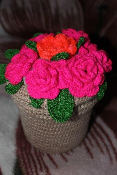 вязание крючком цветы фиалки мода