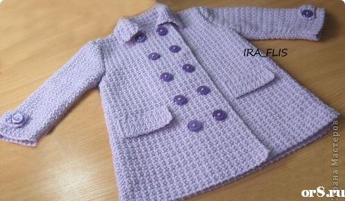 Вязаное пальто для девочки, вязание крючком.