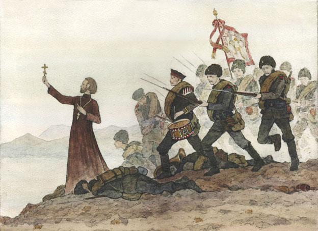 В решающий момент боя священник Стефаний (Щербаковский) повел за собой солдат, и полк вырвался из окружения. За священником шел полковой оркестр и знаменная группа.