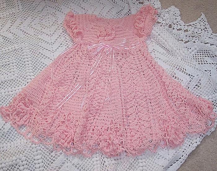вязание крючком детские платья схемы.