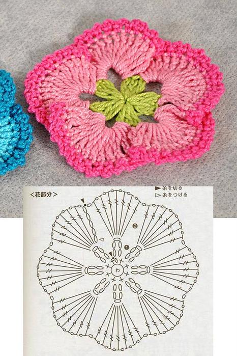 Схемы вязания крючком цветы объемные.
